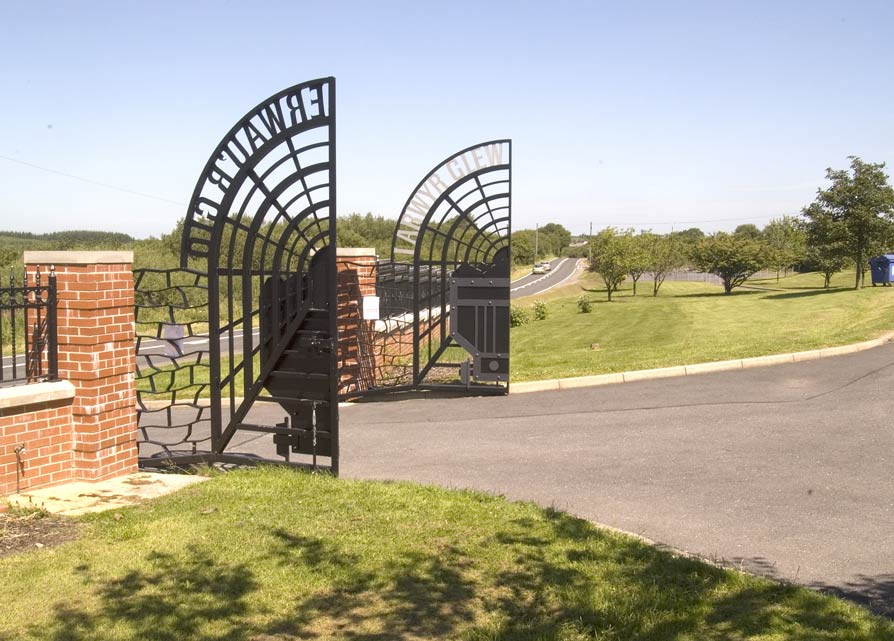 The gates finished and hung.