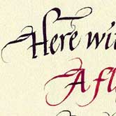 Flowing Calligraphy with gradiated ink colours. Click to view.