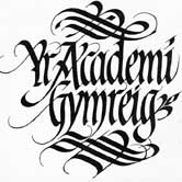 Flowing Calligraphy design for the Welsh Academy. Click to view.