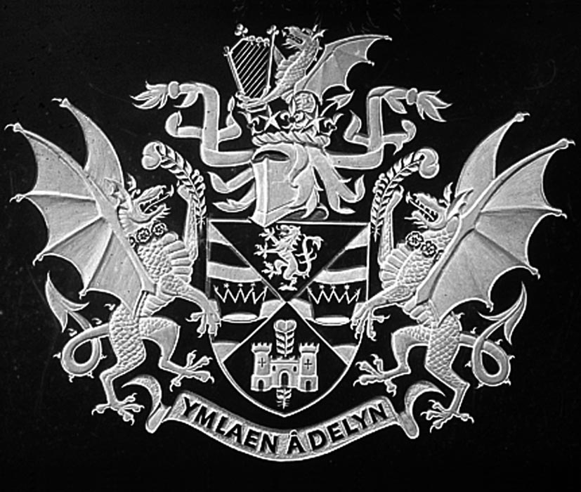 Coat of Arms with dragons and feather surrounding a shield.