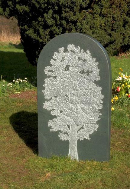 Decorative Headstone example with hand carved Oak tree.