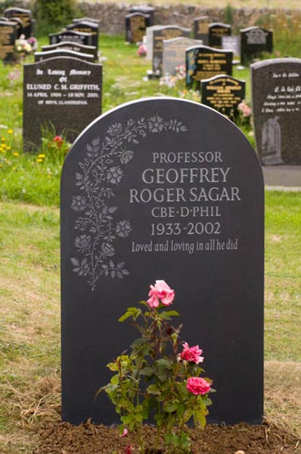 Headstone example with hand carved roses.
