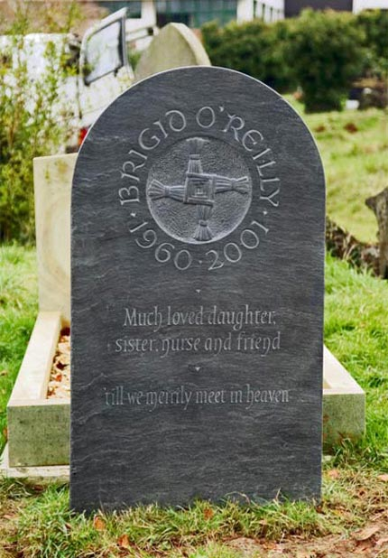 Headstone example with Cross detail.