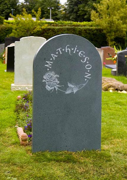 Headstone example with Rose detail.